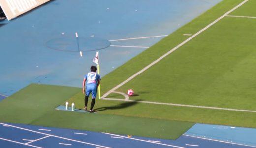 ルヴァンカップ準決勝 鹿島アントラーズレアンドロのファール後、西村主審との間に入る遠藤康